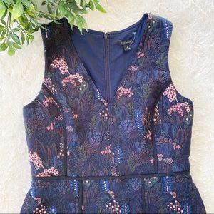 Ann Taylor blue pink floral tapestry sheath dress